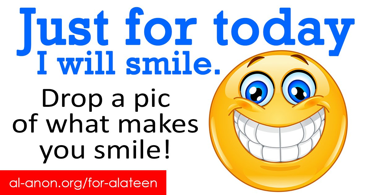 What makes you smile? Drop a pic/GIF/comment below. Thanks!  Remember to protect your anonymity.  #Alateen #AlAnon #FamilyDisease #FamilyRecovery #teensupport #COA #smile #smilemore #smilesmilesmile #smilealways #smileeveryday #smilemakeover #smileplease #smilebrightpic.twitter.com/SZfvfspww3