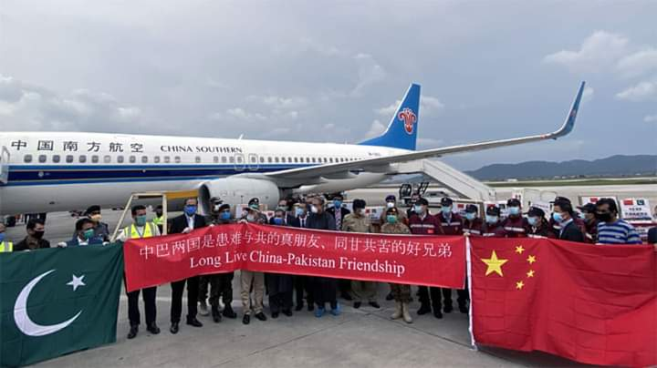 Special #Chinese_plane carrying a team of doctors to fight #Coronavirus arrived in #Islamabad on Saturday. The doctors will remain in #Pakistan for two weeks and advise health care specialists of Pakistan in the light of their experience and success in battling #Covid19 in #China