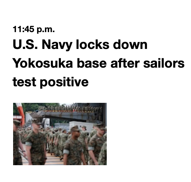 MAR 28 #COVID19 #MDTHREAD 17: TWO MORE POS, not related to first. @USNavy has ordered a lockdown of its #Yokosuka base, home of #SeventhFleet and the most strategically important naval base in the Pacific. @USMC @votevets @iava @VFWHQ @staraandstripespic.twitter.com/ko0KdQJD8J