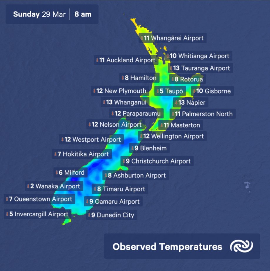 ❄A chilly start to Sunday as southerlies continue through central NZ bit.ly/metservicenz ^Tahlia https://t.co/pSDTtHOuHy