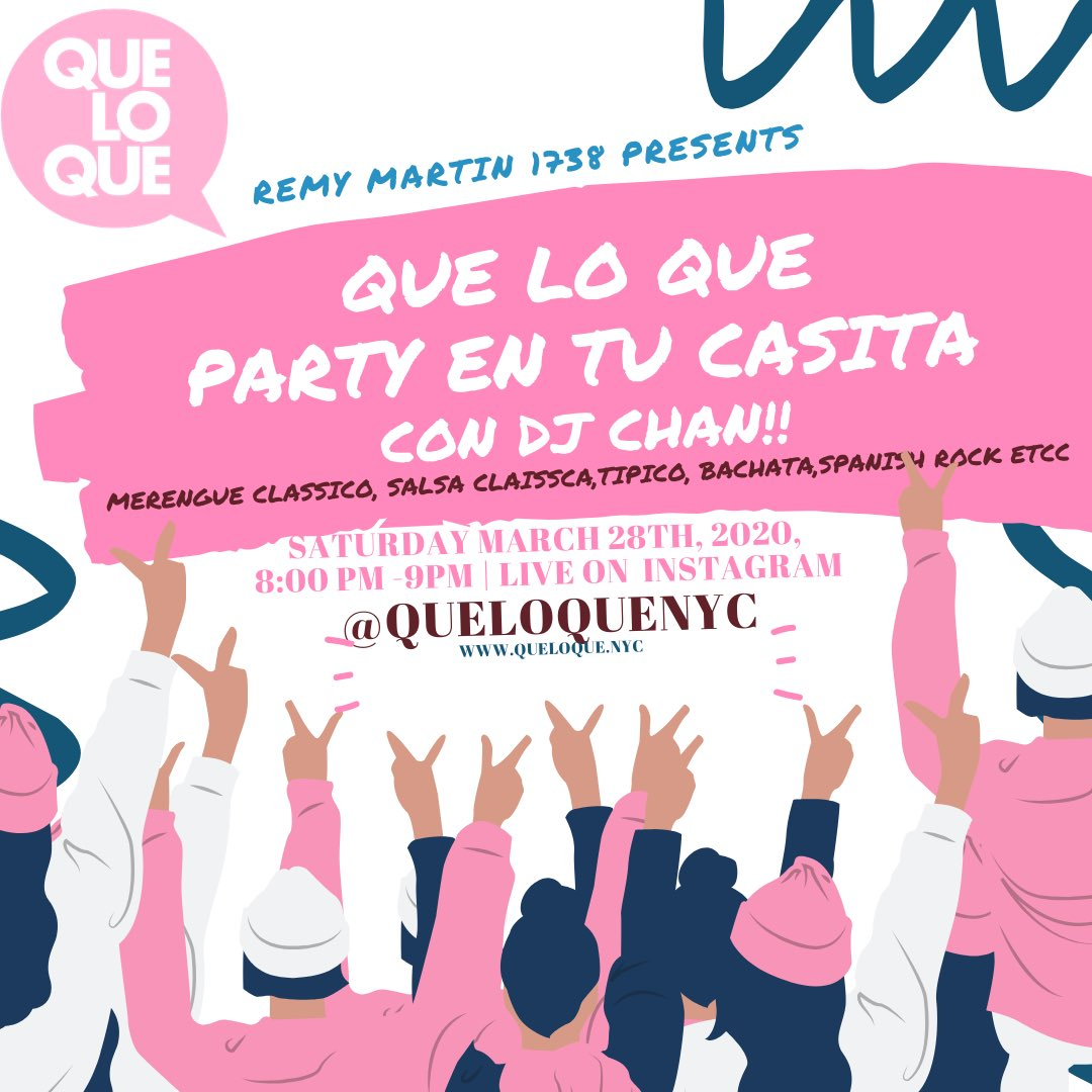 If you luv some Bachata x Merengue x Salsa x Tipico x Reggaeton x Spanish rock etc.. Join the fun tonight at 8pm at our Que Lo Que party on Instagram...#Latino #Latina pic.twitter.com/y9JEXGMlTE