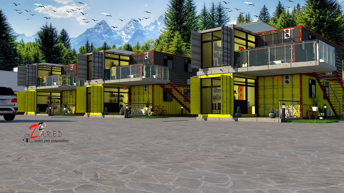 Hi guys We can recycle  your shipping containers into beautiful piece of architecture.  Here are units of 1Bedroom flat design( Interior and exterior),using Shipping containers. Each block has 2Units of 1Bedroom Flat. . Please help retweet. God bless pic.twitter.com/OW6SR2eNpH