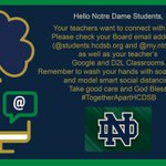 Image for the Tweet beginning: Hello Notre Dame Students, Your