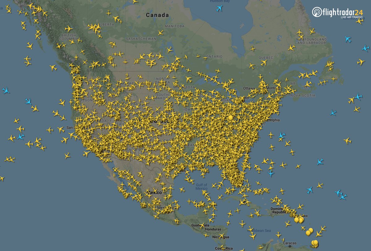 Of the 4800 flights we're currently tracking worldwide, two-thirds are seen in this image.   Normally, we would be tracking about 13,000 flights right now.  📡 https://t.co/vw45r9vE0m https://t.co/uedBKXlS64
