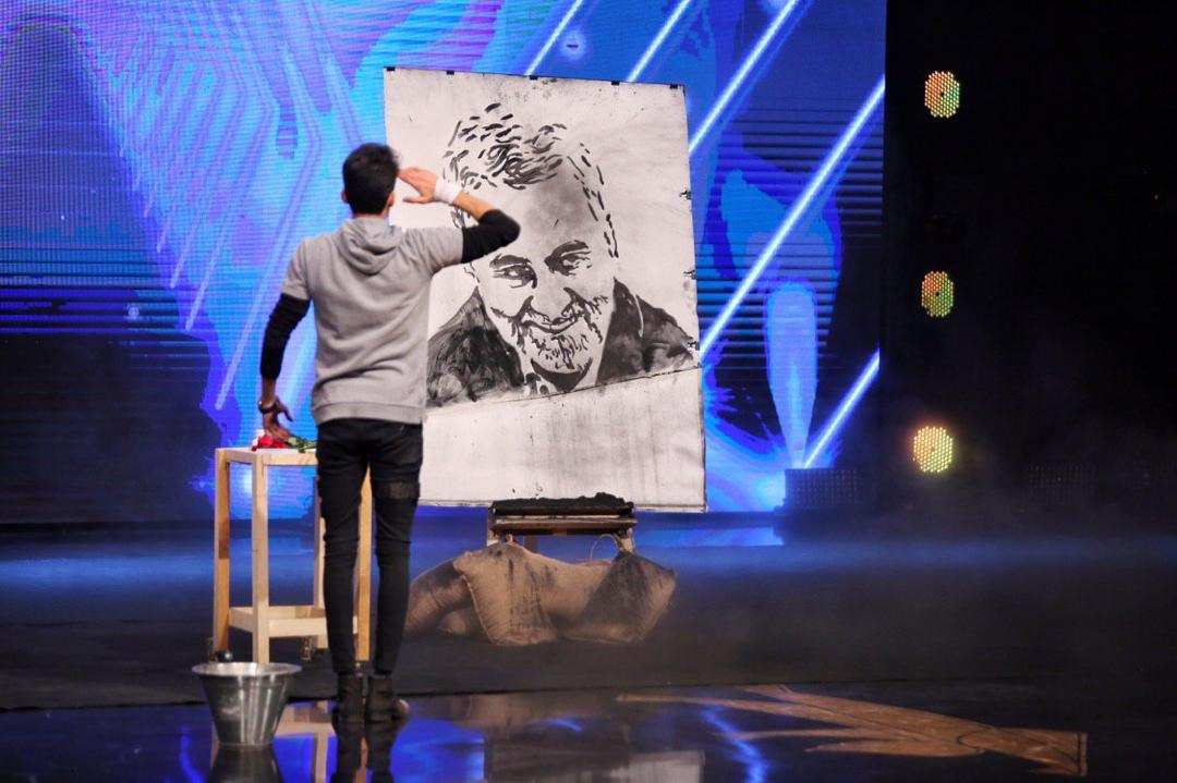 Iranian artist who competes in Iranian talent Drawing of General Suleimani's painting... Qassim is still alive  #Iran <br>http://pic.twitter.com/p9ujhxtfmE