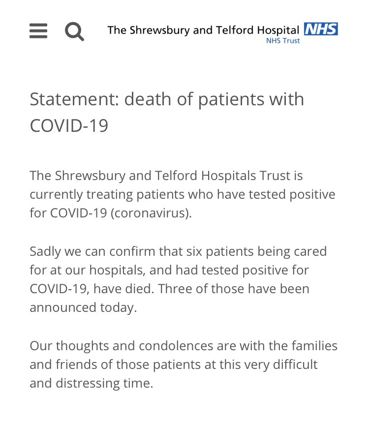 The deaths have been announced of three more people with coronavirus at the hospitals in Telford and Shrewsbury