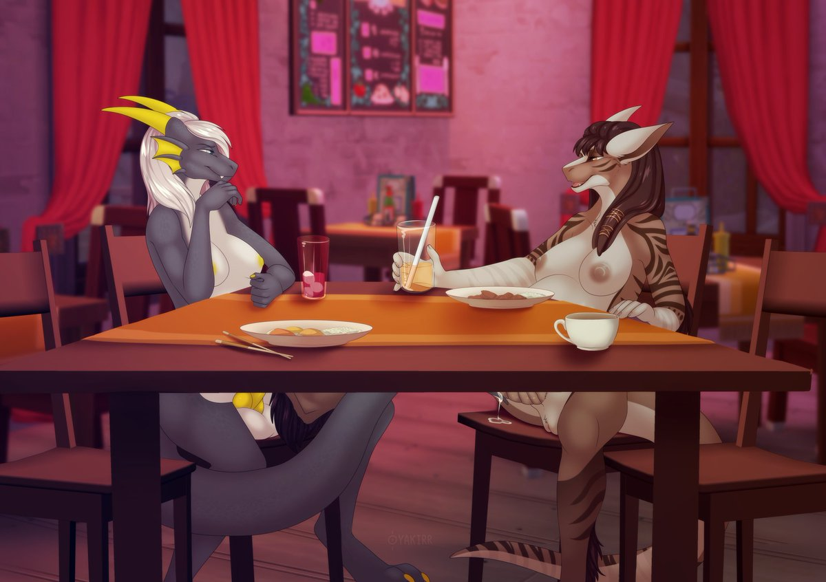 """""""A double date""""  Collab Featuring Milly and Zenith (@ZenithSergCroc)  Art done by SergeantYakirr on FA (https://www.furaffinity.net/user/sergeantyakirr…)  Seems the two girls interrupted a couples' date and are enjoying their own date~. pic.twitter.com/ohMmoNHBbL"""