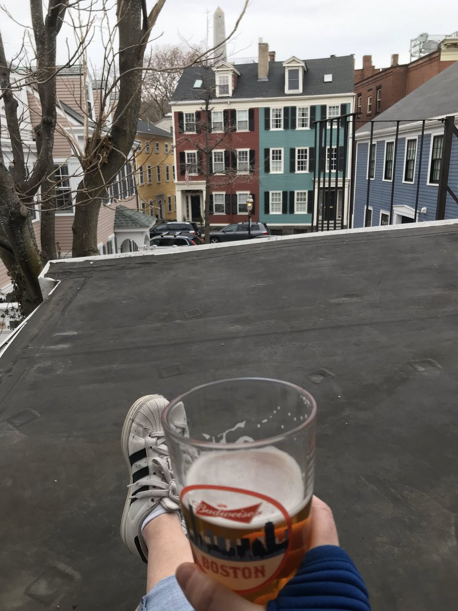 Missing my people. So we have happy hour virtually, while I sit on the roof... looking out at my beautiful, quiet neighborhood. It isn't the same, but it'll do for now. Cheers to you #Boston. We've got this! pic.twitter.com/9wWbsJuGP7