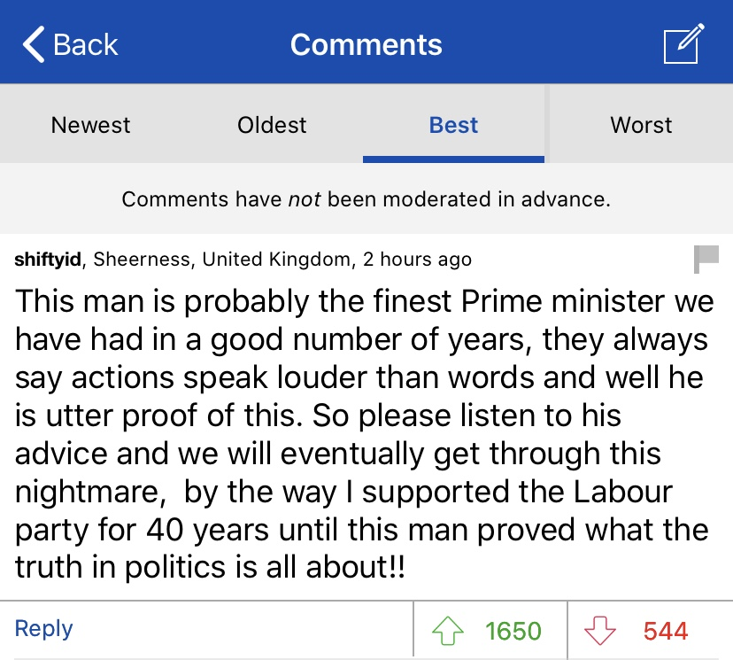 COMMENT OF THE DAY: 'Dominic C' in London writes…