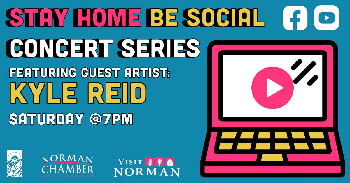 Tonight at 7pm! Don't miss our first #StayHomeBeSocial concert series! Thank you, Norman Parks and Recreation, @VisitNorman and @NORMANCHAMBER, for being creative and helping Norman residents stay connected from the safety of their own homes!  #localgov #OklaStayHoma
