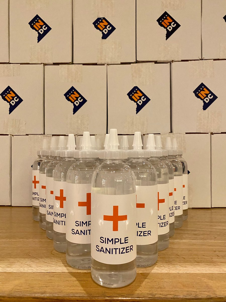 """We'll have """"Simple Sanitizer"""" available for purchase in our cafés tomorrow. Come on by for a mint cold brew and a bottle of hand sanitizer to go. #madeindc"""