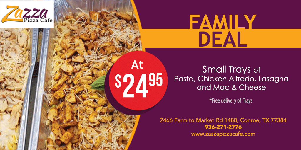 Small Trays of Pasta , Chicken Alfredo, Lasagna, and Mac & cheese at just $24.95. We are also offering FREE Delivery of these trays!   #eatlocal #shoplocal #supportyourrestaurant #supportsmallbusiness #conroecommunity #conroetx #texas