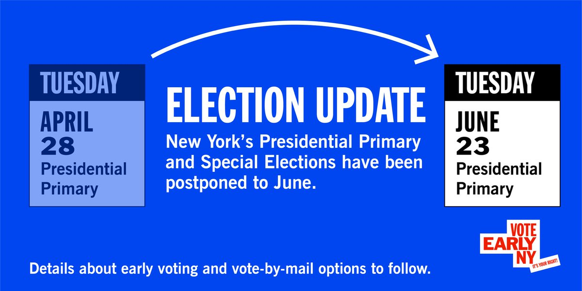 .@NYGovCuomo has postponed the NY #primary2020 until June.  #EarlyVoting is Sat. 6/13-Sun. 6/21; Election Day 6/23; #VoteByMail options being discussed.  As June #voting details are announced for each county, we'll be updating .   Stay healthy & stay tuned!