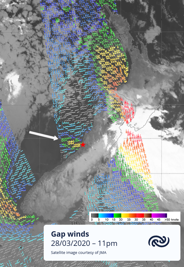 Greymouth (marked with the star) recorded up to 50 km/hr winds last night, due to southeasterlies funneling through the Grey River valley. Strong and cold, not unlike the Barber wind, but unfortunately hangs on for much of the day! ^Tahlia https://t.co/mOkqoTT1ii