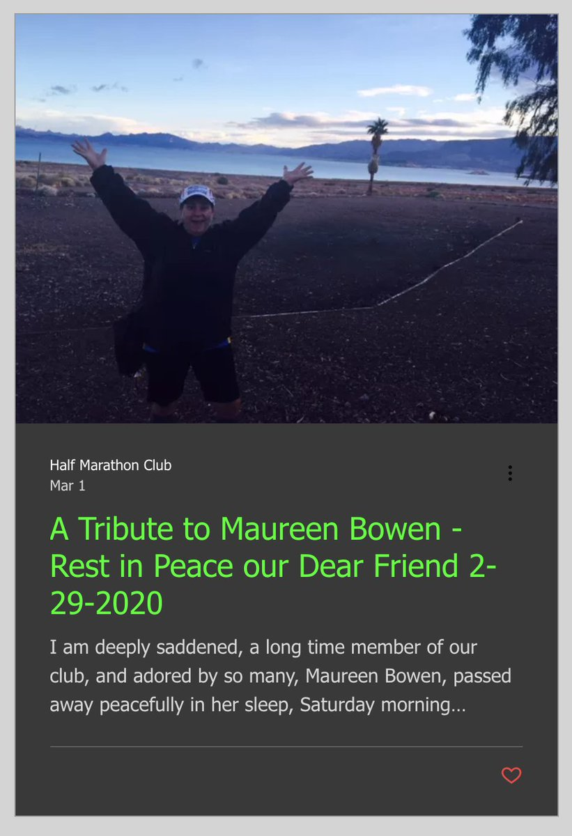 A Tribute to our long time 50 States #halfmarathon Club member Maureen Bowen. Rest In Peace our Dear Friend 2-29-2020  https://www.50stateshalfmarathonclub.com/post/a-tribute-to-maureen-bowen-rest-in-peace-our-dear-friend-2-29-2020 …pic.twitter.com/uYBlqKVa1d