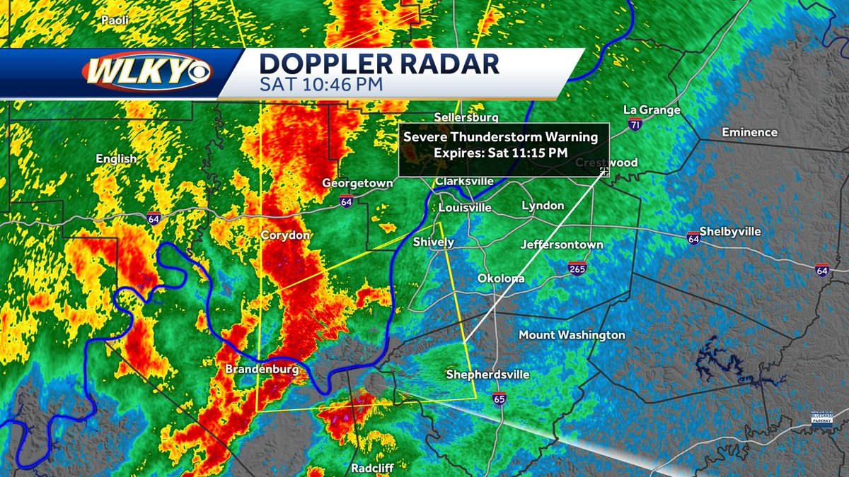 SEVERE THUNDERSTORM WARNING for Jefferson, Bullitt, Hardin, Meade, Floyd and Harrison Counties until 11:15 PM. 60 mph winds and nickel sized hail possible with these storms. #WLKY #Weather