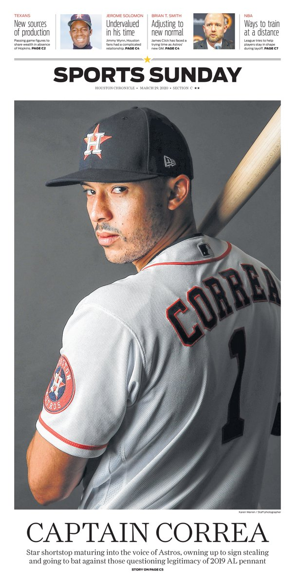 Sunday's @HoustonChron Sports cover: Carlos Correa matures into voice of the #Astros. Story by @Chandler_Rome. Photo by @karenwarrenHC https://t.co/rQ2ArYnSMb