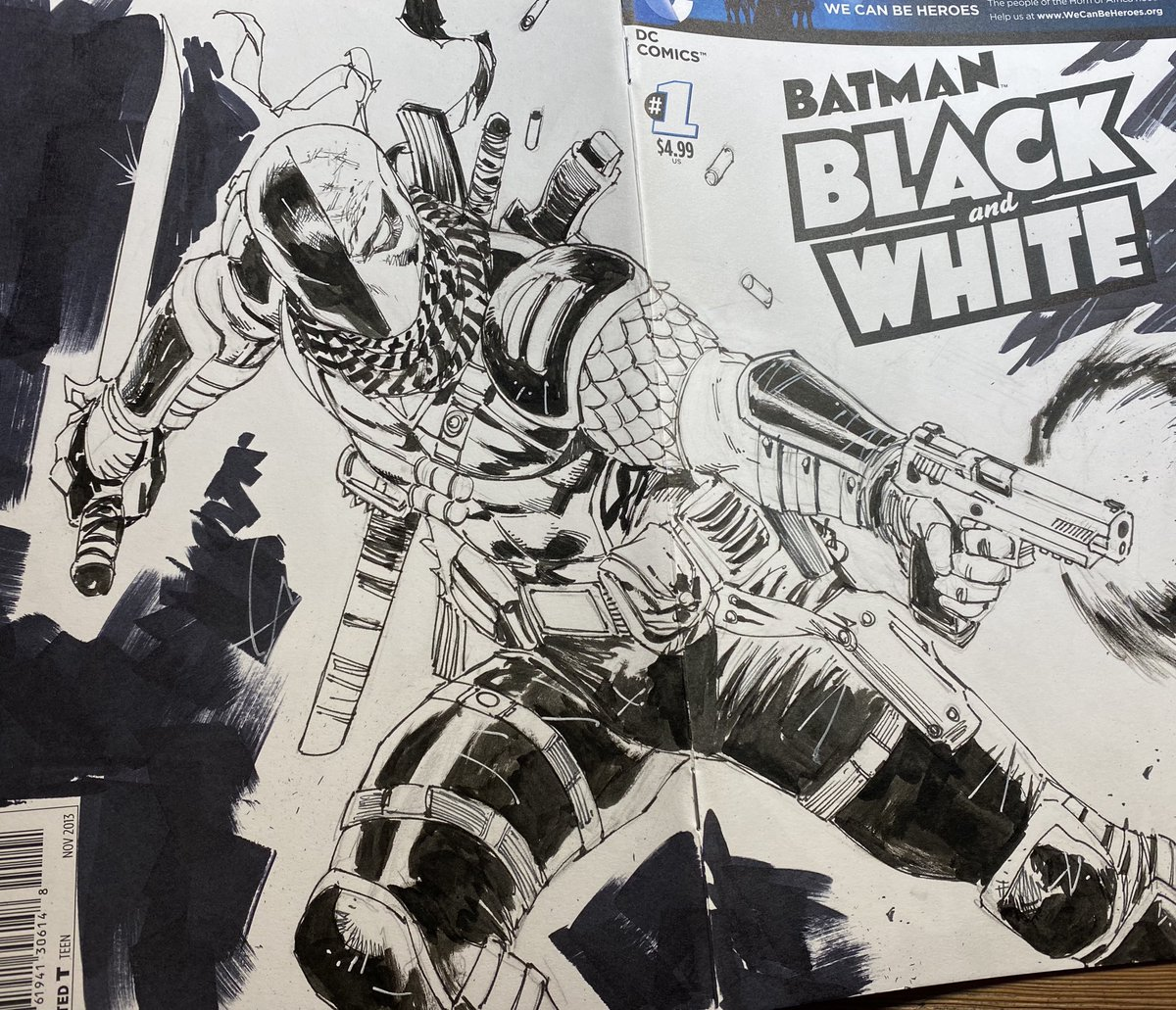 #Deathstroke commission on blank cover.  (Already sold) #Batman #DC #inkpic.twitter.com/397tdzJapy