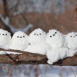【もふもふが再現されてる】シマエナガの雪だるまがちょこんとしてて可愛い
