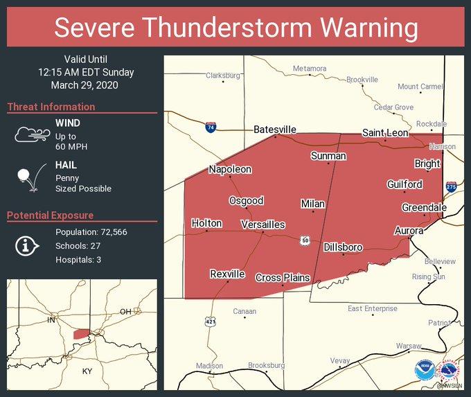 's Media: RT @NWSILN: Severe Thunderstorm Warning including Batesville IN, Bright IN, Hidden Valley IN until