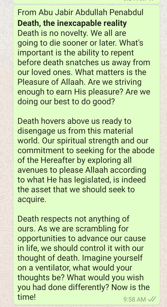 Death; the inexcapable reality