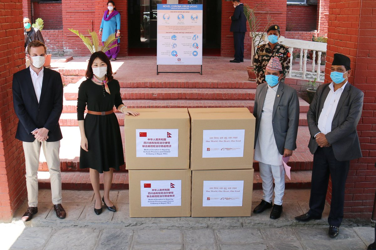 Glad to attend the handover ceremony for China's donation of medical supplies to Nepal and exchange views with Hon. @dhbhanu, Minister for Health and Population of Nepal on joint prevention and control of COVID-19. #ChinaNepalSolidarity
