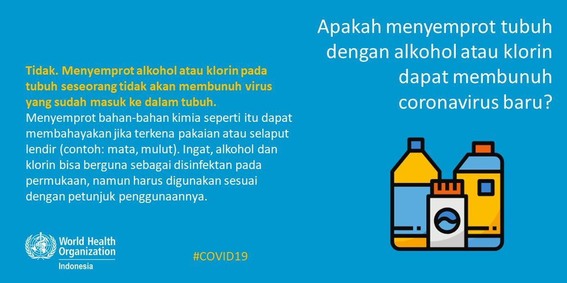 Peringatan dari WHO, bahaya semprot disinfektan langsung ke tubuh