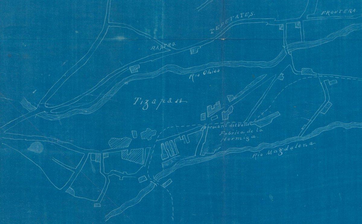 """#TomaNota  Hilo Algunos datos extras sobre San Ángel: En el siglo XIX se instalaron algunas fábricas como La Alpina, La Hormiga y Loreto.  Copia en negativo del plano de la municipalidad al comenzar el siglo XX (del AHCM) y """"La Hormiga"""" de J.M Velasco, (colección del @MUNAL)pic.twitter.com/EYHVVxuenS"""