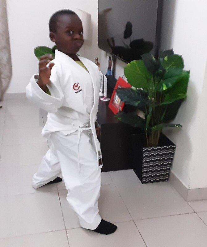 Our wonderful student Victor in Y1P looks super smart in his Karate costume! Well done Victor on following Miss Raggett's tutorial! #capitalschooldubai #schoolscompared #khdadubai #karate #fun