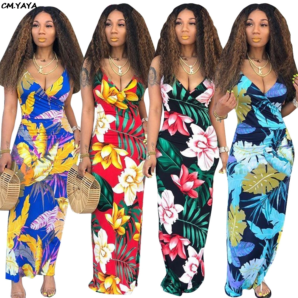 #model #picoftheday 2019 women new summer floral leaf print tie up notched v-neck sleeveless slim bodycon beach maxi midi dress