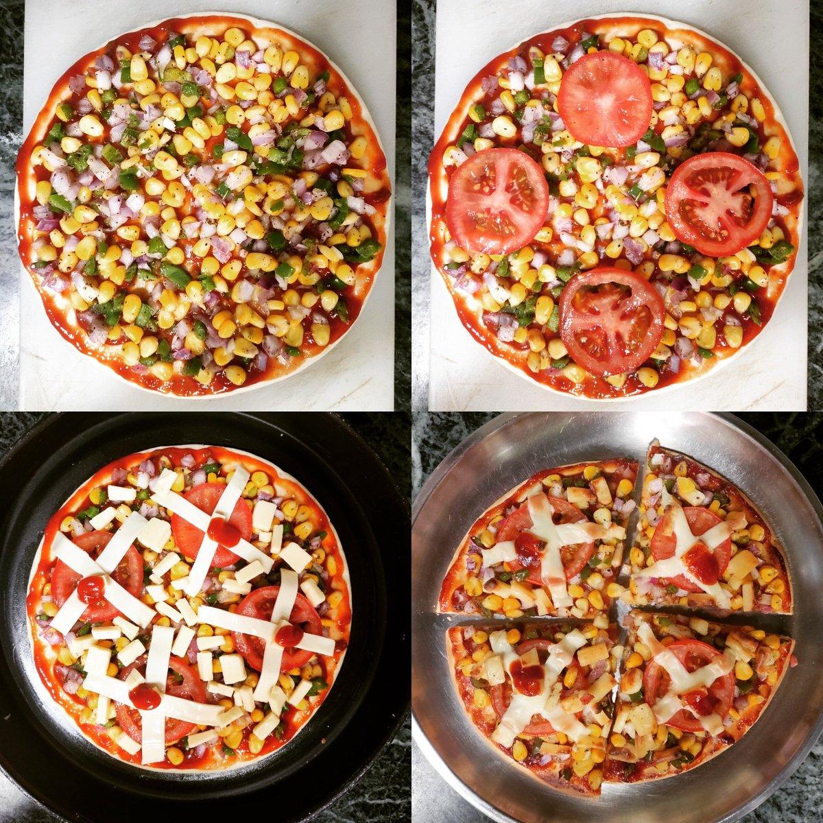 Aaj Sunday Lockdown Pizza is ready! 1.2.3.4! 🍕🍅🌽🌶️🍴😋  #weekend #sunday #brunch #india #coronavirus #lockdown #foodie #foodiesofindia #foodgasm #lunchtime #foodiesofinstagram #foodaholic  #vegetarian #cooking #sundaychef #cheflife🔪 #homemade #IndiaFightsCornona