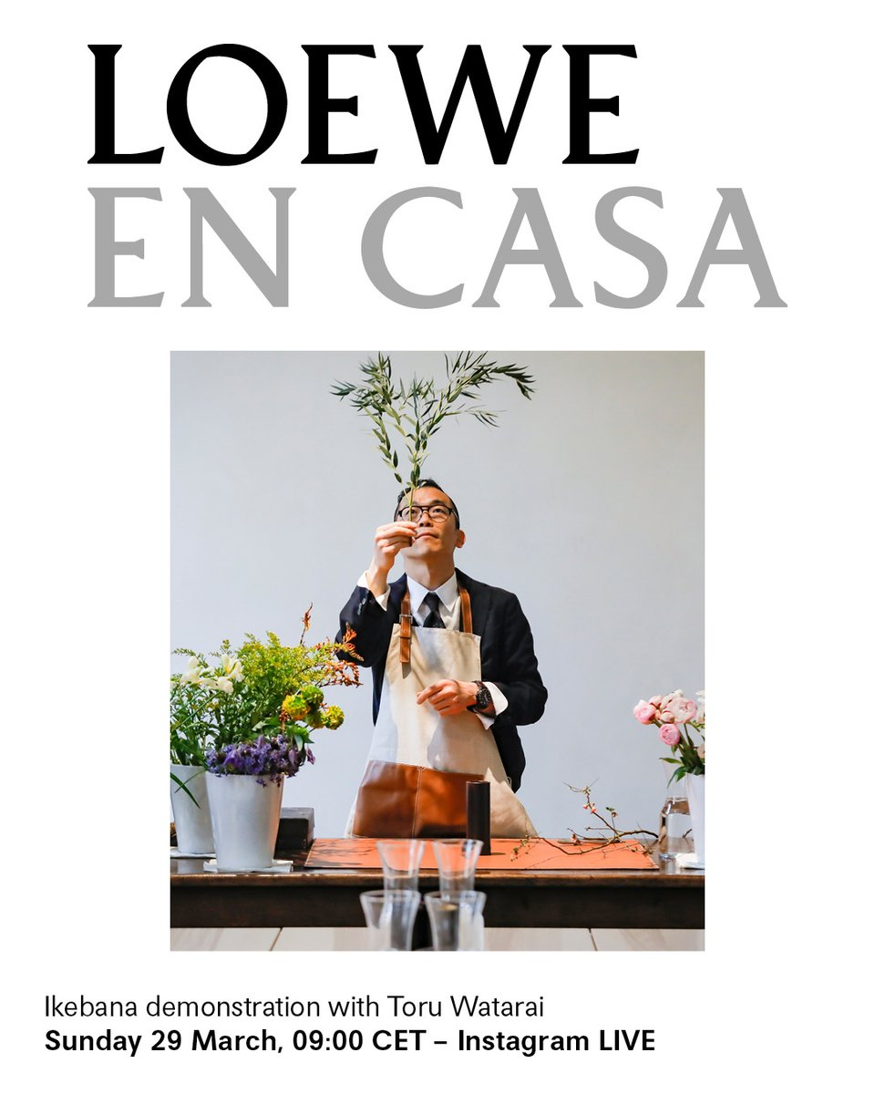As part of LOEWE EN CASA - a series of online events and workshops to enjoy while you #StayAtHome - we will join Ikebana artist Watarai from his home studio to hold a live demonstration.  Sunday 29 March, 09:00 CET – at LOEWEs Instagram LIVE  #StayHome