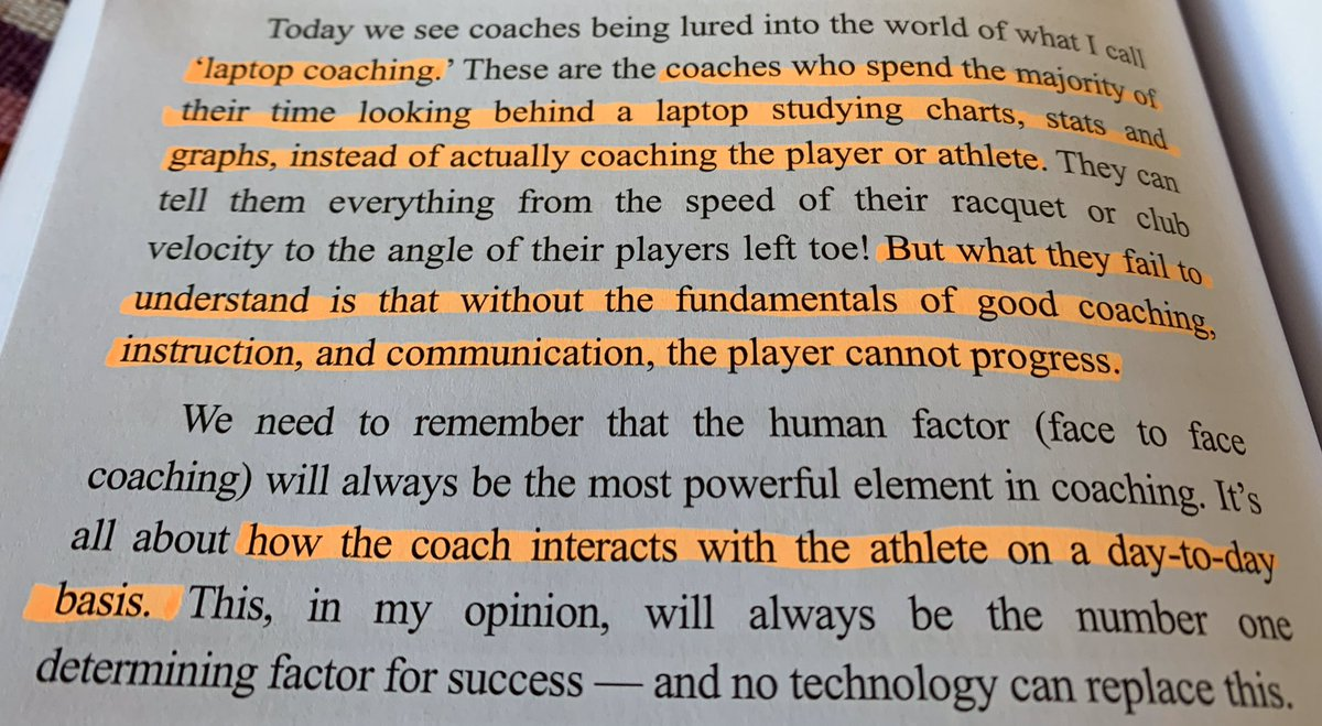 Coaching is an interaction every day. Not stats, graphs etc from the laptop