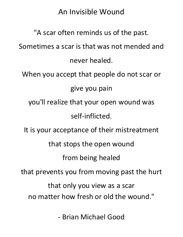 An Invisible Wound  - http://BrianMichaelGood.com/books  #anxiety #depression #mentalillness #SuicideAwareness #recoveryisworthit #suicide #depressionrecovery #StayAtHomepic.twitter.com/G1Oj12llje