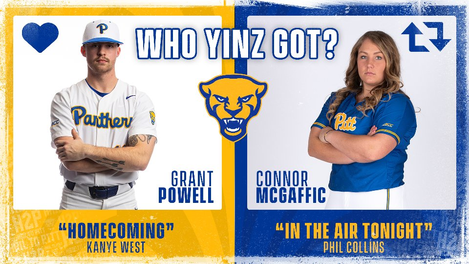 Back at it in 𝗪𝗵𝗼 𝗬𝗶𝗻𝘇 𝗚𝗼𝘁?!🎶  @grant_powell9 @kanyewest Homecoming vs. @Pitt_SB @ConnorM266 @PhilCollinsFeed In The Air Tonight.  Like 💙 for Grant, retweet 🔁 for Connor.  #H2P | #WhoYinzGot