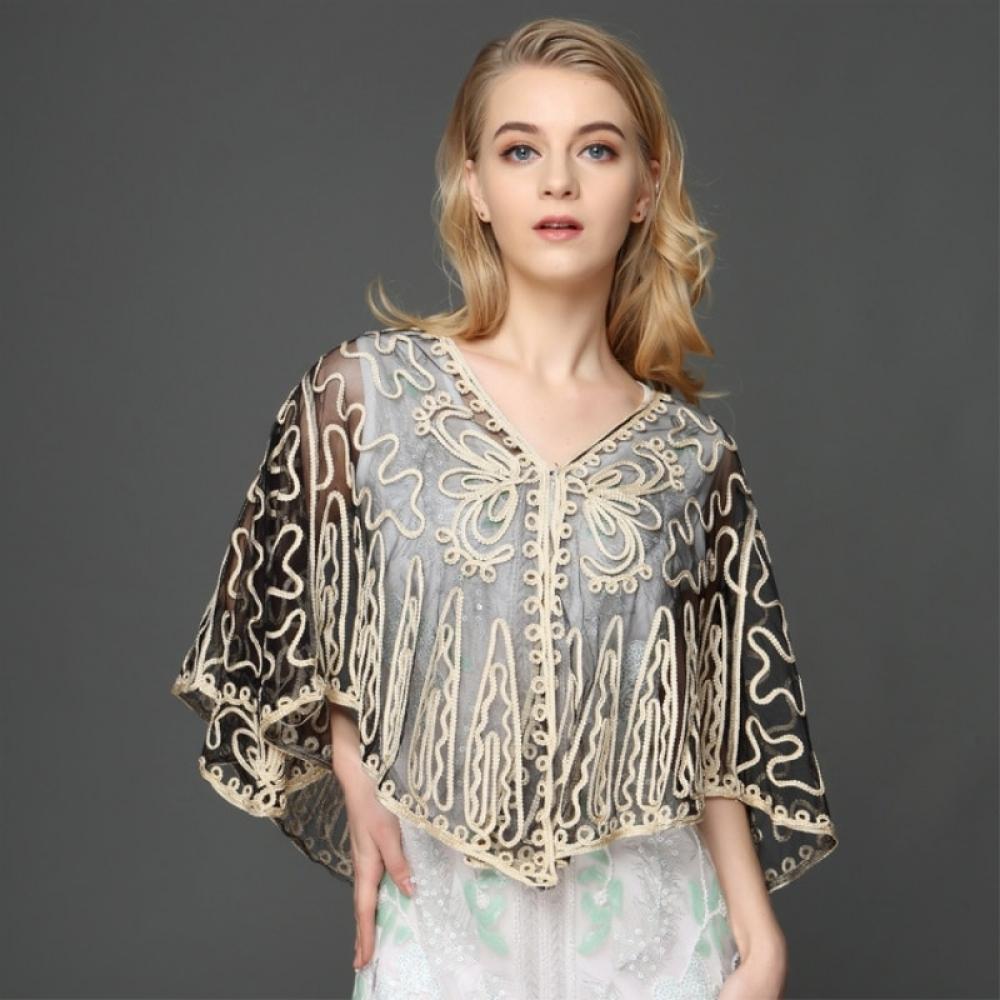 Women's Embroidered Sheer Cape Jacket #like4like #instafashion