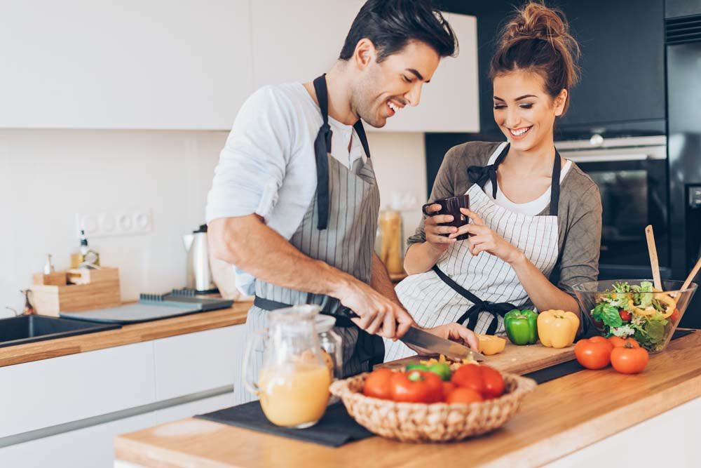 Just you two at home? Get into the kitchen...it's a relationship maker, and there's no better time than the present! https://weddingbells.ca/planning/why-cooking-together-is-a-relationship-maker/…