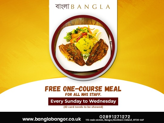 Bangla Bangor has decided to provide a free one-course meal to all NHS staff every Sunday to Wednesday. (ID cards needs to be showed)  #banglabangor #bangor #foodies #foodlover #indianfood #indianrestaurant #unitedkingdompic.twitter.com/LIH7OAgz6y