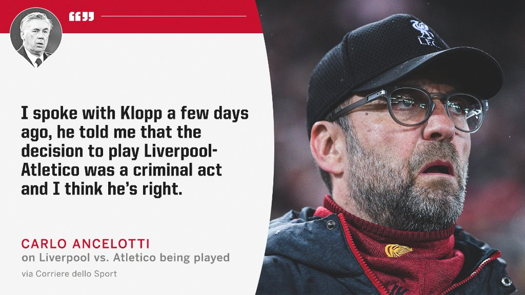 Jurgen Klopp thinks Liverpool's UCL tie vs. Atletico shouldn't have been played amid the coronavirus outbreak.
