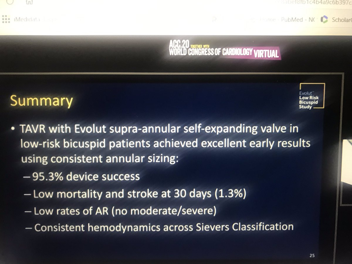 EVOLUT low risk bicuspid registry shows good results in BAV: 1.3 % mortality or stroke at 1 year. ACC virtual.