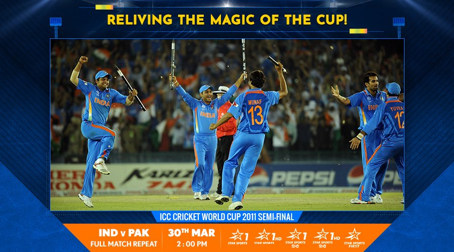 The fiercest of rivalries, the grandest of stages - #TeamIndia's gaze was firmly set on glory as they faced Pakistan in the Semi-Final of the 2011 ICC Cricket World Cup!  Watch every ball, 2 PM onwards tomorrow, on Star Sports 1/1HD/1 Hindi/1HD/First! #Reliving2011<br>http://pic.twitter.com/iHjnunbx39