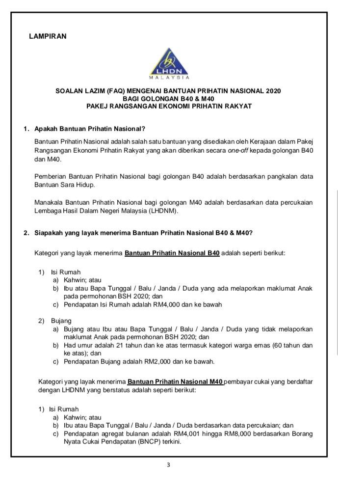 Siaran Media Mofmalaysia Berkenaan Pembayaran Bantuan Prihatin