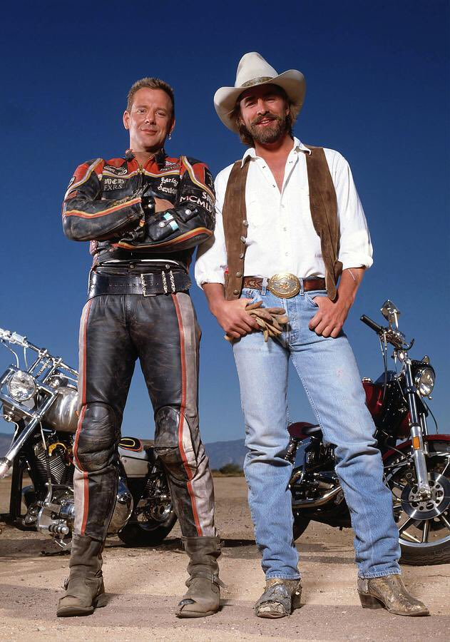 Mickey Rourke and Don Johnson from Miami Vice (1984 - 1990) in Harley Davidson and the Marlboro Man. (1991) <br>http://pic.twitter.com/7Buy7eHy6Q
