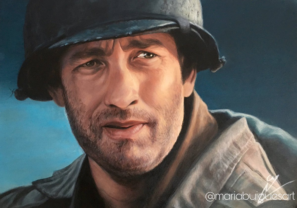 "PAINTING, Acrylic on board •""Captain John H. Miller"" We are all fighting this battle with you, @tomhanks Thank you for being our inspiration💙  #tomhanks #savingprivateryan #tomhanksfan #forrestgump #castaway @RitaWilson #thegreenmile #philadephia #actor #stayathome #davincicode"