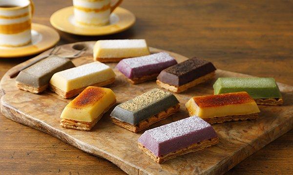 「スイートポテトの中でも、群を抜いておいしいです」と秘書絶賛!焼かずに仕上げており、とろけるような食感のさつまいもペーストと、サクサク食感のパイのコラボレーションがたまらない!味も7種類あり、色合いも可愛い♪⇒ #接待の手土産 #取り寄せOK