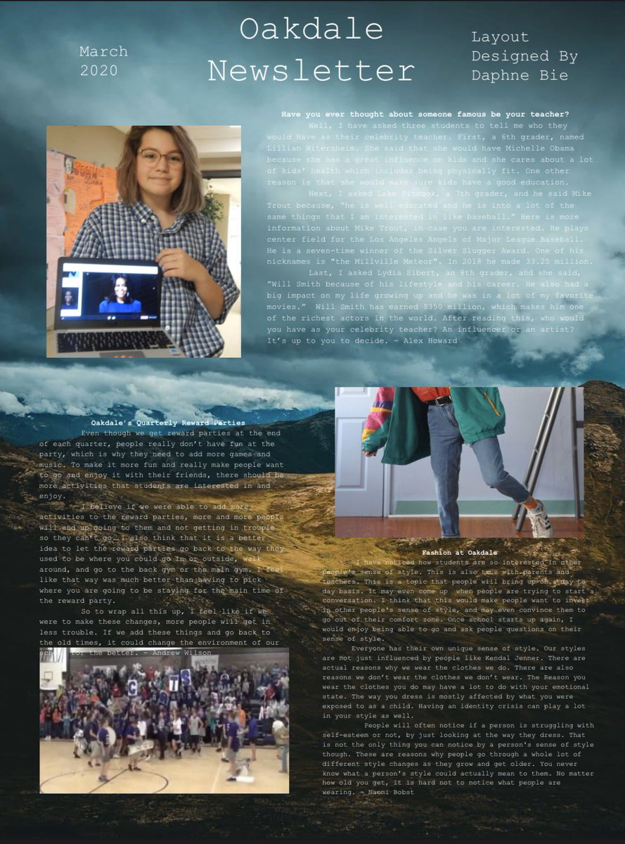 Oakdale Patriots On Twitter The Oakdale Yearbook Staff Has Published Their March 2020 Edition Of Our Oms Newsletter Please Check It Out On Our Website Just Download The Pdf Which Can Be