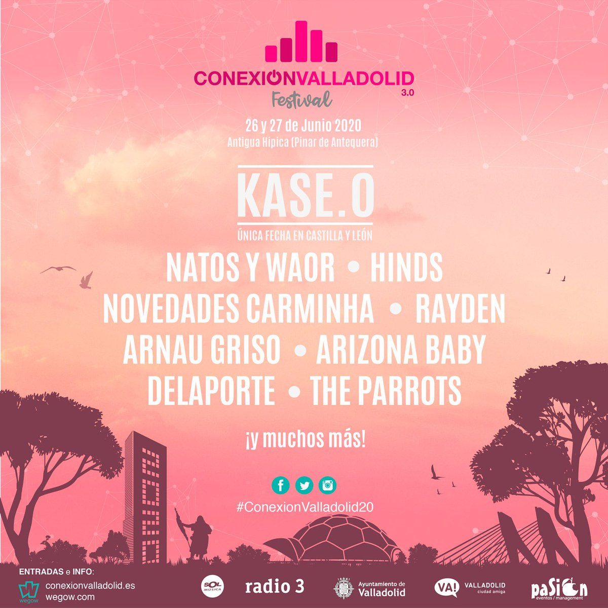 26-27/6 Antigua Hípica #Valladolid @AyuntamientoVLL @infoVLL #ConexionValladolid20 @hindsband @novcarminha @arnaugriso @theparrotsband @KaseO_real @NatosyWaor @soyRayden @thearizonababy @Delaportemusic y + http://ow.ly/Sr0r50xxFFT  #TuHostalDesde1978 #VallAgendapic.twitter.com/3dYUEAClTl