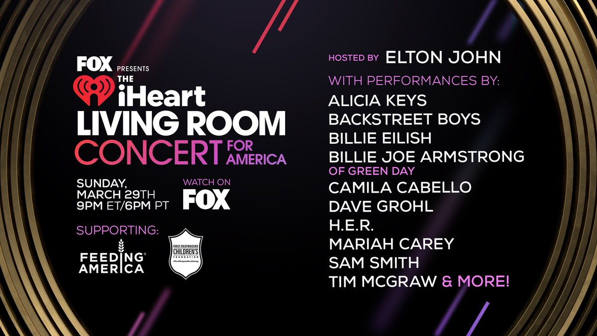 TONIGHT! There's one thing we can all unite around even though we are apart, and that is the power of music! 🎶 ❤️  Join us for the 'iHeartRadio Living Room Concert For America' supporting @FeedingAmerica and @1strcf  TONIGHT at 9PM ET / 6PM PT on @FOXTV!   #iHeartConcertOnFOX 🎶