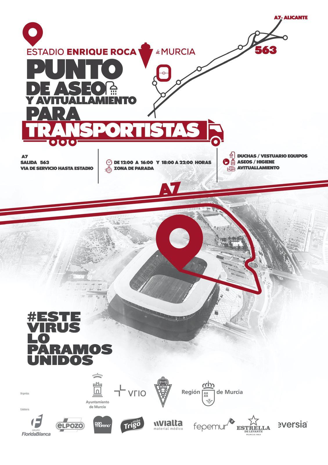 Las indicaciones del Real Murcia para acceder al estadio.