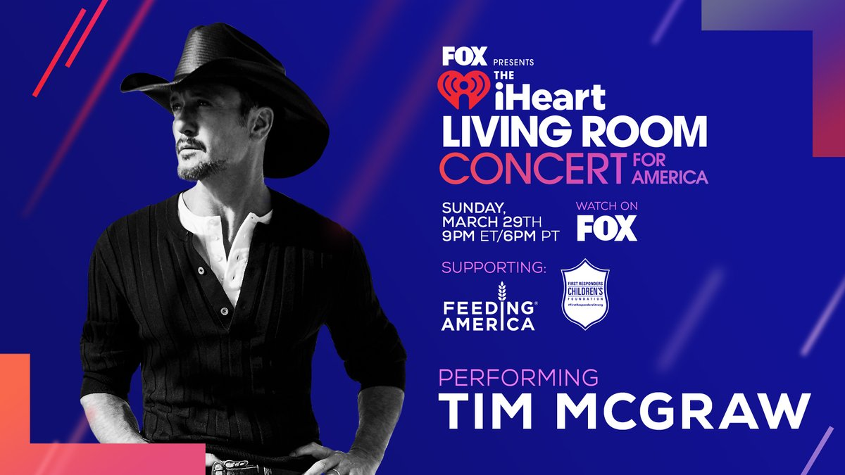 Tonight! 🙏 @thetimmcgraw will be performing from his living room while we all honor those heroes on the front lines helping to fight the spread of COVID-19.   Watch the iHeartRadio Living Room Concert For America at 9PM ET / 6PM CT on @FOXTV! 🇺🇸 #iHeartConcertOnFOX